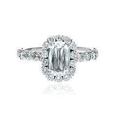 Christopher Designs L'amour Diamond Rectangular Engagement Ring