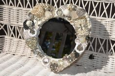 handmade heart mosiac mirror  by MosaicTreasureBox,