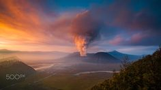 the Volcano - Bromo little eruption since October 2015 until now. Taken during sunrise. Photography by Eko Sumartopo