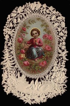 Paper Lace with Roses Holy Card
