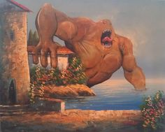 From Adding monsters to thrift store paintings.  Brilliant!