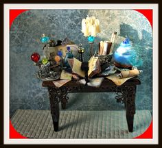 miniature dollhouse Witch gothic spell table by MidnightsDreams