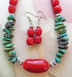 """GENUINE TURQUOISE chip CORAL bead (including focal bead) necklace, earrings. 20"""""""