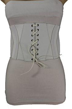 Trendy Fashion Jewelry Women Sexy Fashion Corset Belt Hip High Waist Wide Elastic Faux Leather S M White