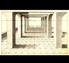 The Helpful Art Teacher: Perspective Drawing 101...Drawing a house and a hallway using onepointperspective