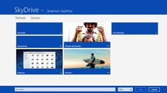 Store any file on SkyDrive and it's automatically available to access or share from any device. With SkyDrive for Windows 8, your files in the cloud are just a touch away. You can easily view, upload, and share your files on SkyDrive and even access your SkyDrive files across Windows 8 apps.