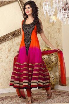 Orange-red and Magenta Net Embroidered Anarkali Kameez Sku Code:159-1484SL90591 $ 156.00