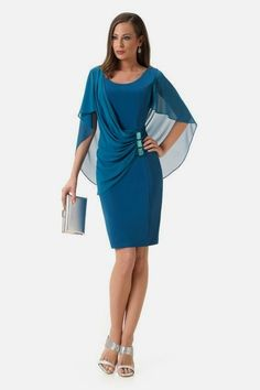 Vestido de Fiesta de Bámbola (Fontar) Blaues Bleistiftkleid Umhangdetails # Kleider # f . Mom Dress, Dress Up, Elegant Dresses, Formal Dresses, Party Dresses, Wedding Dresses, Mother Of Groom Dresses, Occasion Dresses, Dress Patterns