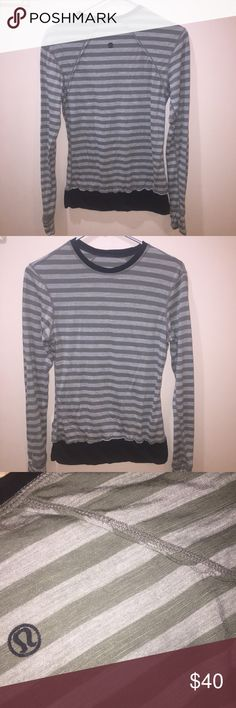 Lululemon Long sleeve crew neck striped Tee size 4 Great condition. Barely ever worn. Army green and grey stripes with black trim. lululemon athletica Tops Tees - Long Sleeve