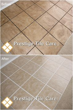 Before And After Cleaning And Colorsealing Grout.
