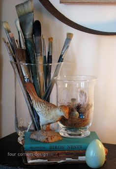 Paintbrushes_great looking vignette from Four Corners Design...I like storing them and allowing them as part of the decorating.