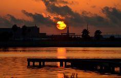 Sunrise over the Basin on Galveston Island