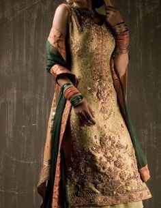 Latest Formal Dress Olive Green Shirt Trouser - Buy Latest Pakistani Bridal Fashion Dresses for Bride 2020 Prices Heavy Dresses, Formal Dresses, Fashion Wear, Fashion Dresses, Bridal Fashion, Fashion 2020, Pakistan Bridal, Latest Pakistani Fashion, Pakistani Wedding Outfits