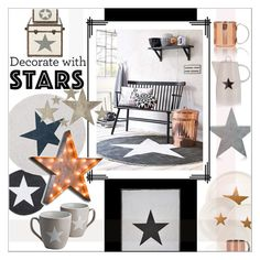 Star Decor by szaboesz on Polyvore featuring interior, interiors, interior design, home, home decor, interior decorating, Slippin' Southern and decoratewithstars