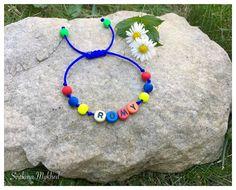 """Bracelet """"Romy"""" . Bracelet avec message ou prenom personnalisable perles acryliques multicolores : Bijoux enfants par perles-et-couronnes"""
