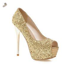 AdeeSu Ladies Peep-Toe Spikes Stilettos Pull-On Gold Sequin Pumps-Shoes - 8.5 B(M) US - Adeesu pumps for women (*Amazon Partner-Link)