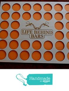 """Poker Chip Display Frame Insert, holds 36 Harley-Davidson or Casino chips, natural birch chip holder, 11 by 14"""" insert, laser-engraved Life Behind Bars from CarvedByHeart https://www.amazon.com/dp/B01MYVA4D5/ref=hnd_sw_r_pi_dp_MoRryb60MHTZT #handmadeatamazon"""