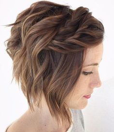90 Mind-Blowing Short Hairstyles for Fine Hair - Wavy Bob With Twisted Bangs For Thin Hair Short Hairstyles For Women, Hairstyles Haircuts, Wedding Hairstyles For Short Hair, Bridesmaid Hair Short Bob, Short Hairstyles For Thin Hair, Flower Girl Hairstyles, Medium Hair Styles, Curly Hair Styles, Fine Short Hair Styles