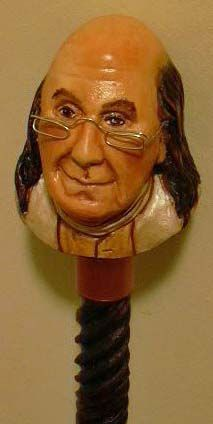Ben Franklin's head carved on a walking stick for Louis Grumet by Pat Harris. Walking Sticks And Canes, Walking Canes, Cannes, Cane Handles, Cane Stick, Wine Bottle Corks, Going Insane, Carving Wood, Wood Carvings