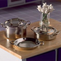 STREETS AHEAD DOLLS HOUSE FOUR ASSORTED COPPER PANS