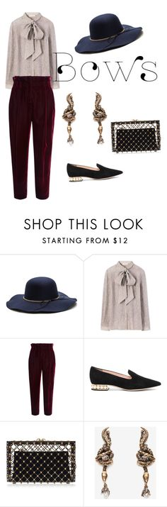 """#bows"" by natalie-covington ❤ liked on Polyvore featuring Tory Burch, Philosophy di Lorenzo Serafini, Nicholas Kirkwood, Charlotte Olympia and Alexander McQueen"