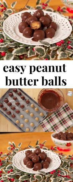 A super easy holiday dessert, everyone will love these peanut butter balls! A super easy holiday dessert, everyone will love these peanut butter balls! Mini Desserts, Desserts Nutella, Easy Holiday Desserts, Holiday Baking, Christmas Desserts, Christmas Baking, Holiday Recipes, Delicious Desserts, Christmas Cookies