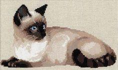 """Скачать Вышивка """"Тайская кошка"""" бесплатно. А также другие схемы вышивок в разделах: Кошки, Riolis, Домашние животные"""