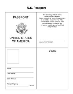 Passport For Kids   Google Search More  Free Passport Template For Kids