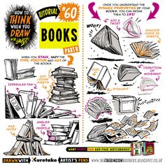 Today's tutorial is part TWO of how to THINK When you draw BOOKS, great for adding a lived-in feel to your interiors, or just for helping you draw all those spell books in your Harry Potter fanart :) All the art below was drawn with KURETAKE...