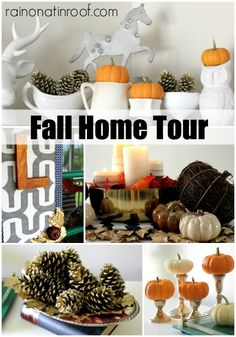 Love all her ideas! Fall Home Tour {rainonatinroof.com} #fall #tour