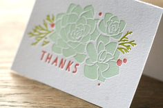 Succulent Letterpress Greeting Card from Cheer Up Press