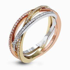 Featuring three intertwined bands of rose, white, and yellow gold, this contemporary Simon G. ring is inset with .41 ctw of round cut white diamonds.
