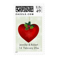 Love Christmas heart shape and snowflake Postage