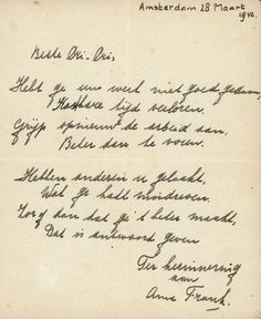 """An """"extremely rare"""" handwritten poem by Anne Frank, penned shortly before she went into hiding from the Nazis, is to be auctioned and could fetch up to 50,000 euros ($55,000), the auctioneers said Thursday.  The poem was written in the friendship book of the older sister of Anne's best"""