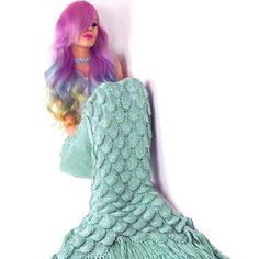 Mermaid Amy with rainbow hair in her Seatail Mint seafoam knit mermaid tail blanket! Knitted Mermaid Tail Blanket, Pretty Mermaids, Mermaid Tails, Cozy Blankets, Rainbow Hair, Stylish, How To Wear, Beautiful, Instagram