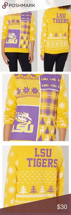 LSU Tigers Ugly Christmas Sweatshirt Called the ugly Christmas Sweatshirt but is absolutely adorable for LSU fans, students and alumni. Yellow with purple logos, Plaid and white snowflakes. Show your Tiger spirit during the holidays with this amazing Sweatshirt. Boutique items firm unless bundled. Officially Licensed Collegiate Product Sweaters Crew & Scoop Necks