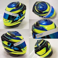 Solon tsolakki's freshly painted arai, featuring the works with matte/ gloss combo, blue candy faded to black with prism flake, fluro yellow, metallic blue outlines and candy blue vents. This thing looks ace in person! #scardesign #custompaint #handpainted #araihelmet #helmetart