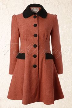 Banned - 50s Elegant Black and Pink Winter Coat