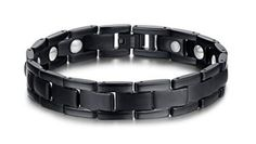 Pure Titanium Magnetic Therapy Stainless Steel Bracelet Gift for Mens,Free Link Removal Tool(Black)