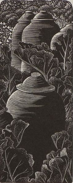 Andy English : Rhubarb Patch at Davidson Galleries Woodcut Art, Linocut Prints, Art Prints, Block Prints, Vintage Farm, Davidson Galleries, Linoprint, Scratchboard, Wood Engraving