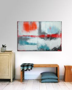 """Large Abstract Schilderij - Red and orange on white - Acrylic painting - 31,5"""" x 47,2"""" - Free Worldwide Shipping"""