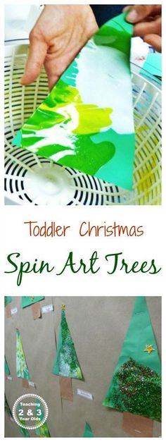 Easy Christmas spin art trees for toddlers - process art that also makes a nice classroom bulletin board display! #christmas #preschool #toddler #AGE2 #AGE3 #kidsactivity #christmasart