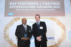 Arun Devan, Managing Director of Blue Ocean Systems, receiving the SAP Business Partner Award in Singapore from SAP at Alkaff Mansion Ristorante, 22 November 2012.