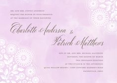 Personalized Stationery - Watercolor Lace Invitation