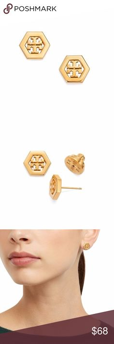 TORY BURCH HEX-LOGO STUD EARRING They fit my ear perfectly and shine. Perfect size and just the right shade of yellow gold. Tory Burch Jewelry Earrings
