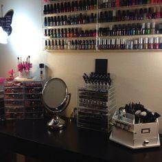 makeup organization - I definitely need something for my nail polish collection.