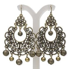 """Earring, antiqued brass-finished steel and """"pewter"""" (zinc-based alloy), 2-3/4 inches with filigree round and fishhook earwire. Sold per pair. H20-6088JD"""