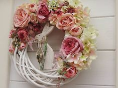 Spring wreath on the door with Easter rabbit, pivots, roses and small spring flowers. Spring Flowers, Rabbit, Floral Wreath, Roses, Easter, Wreaths, Wall, Diy, Home Decor