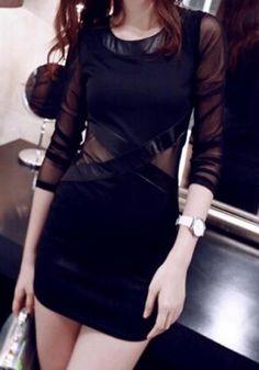Sexy Scoop Neck Mesh Splicing Bodycon Dress For Women