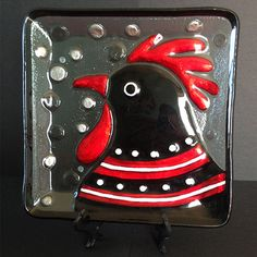 Rooster, Red and Black, Head, Close Up, Fused, Glass, Plate, Lori Siebert, Colorful, Whimsical, Gift Plate Size- 11x11